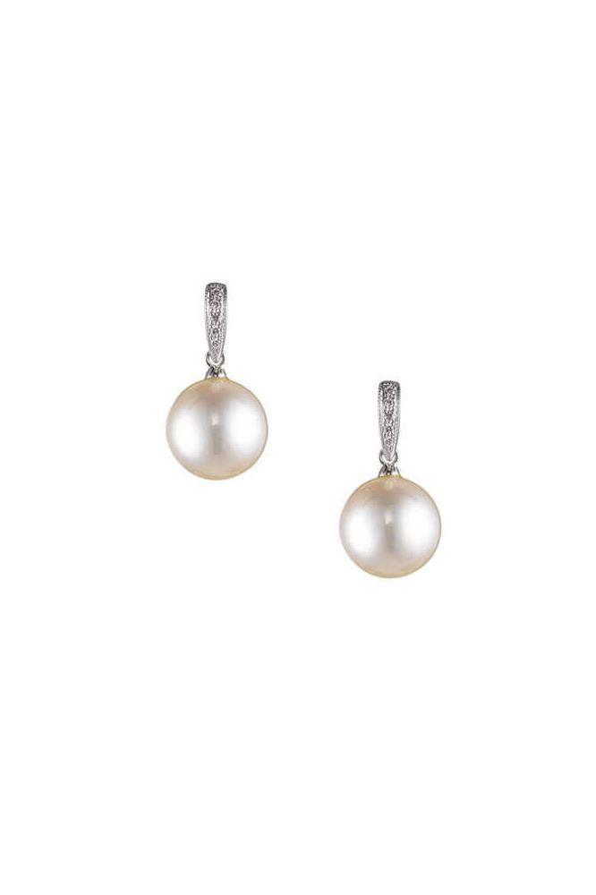 Dainty Vintage Style Freshwater Pearl & Diamond Earrings     18ct White Gold