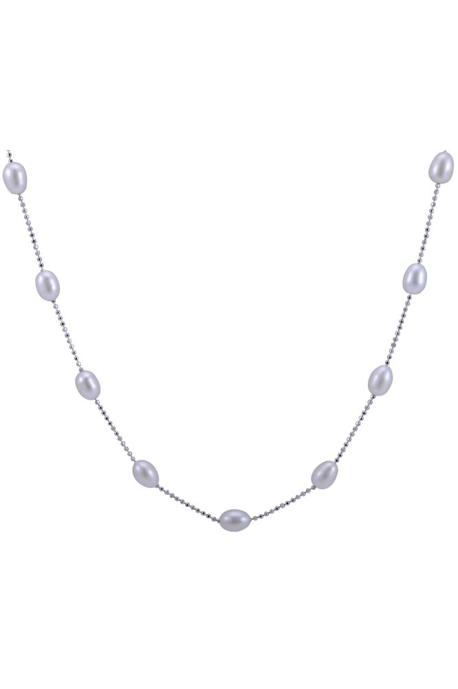 Silver and Freshwater Pearl faceted ball link chain necklace.