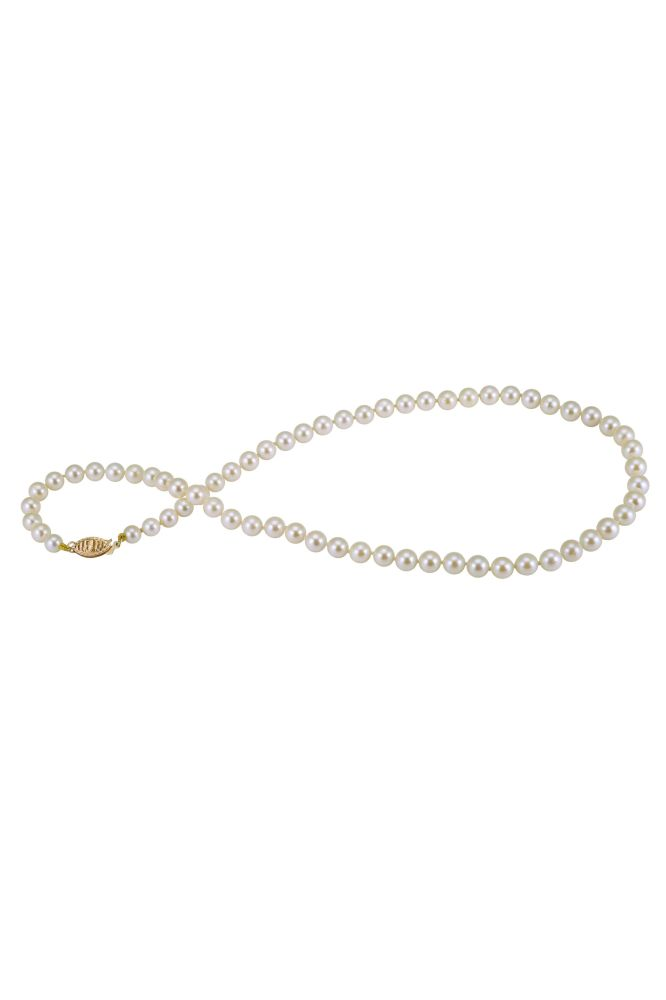 Creamy Akoya Pearl necklace on 9ct yellow gold clasp.