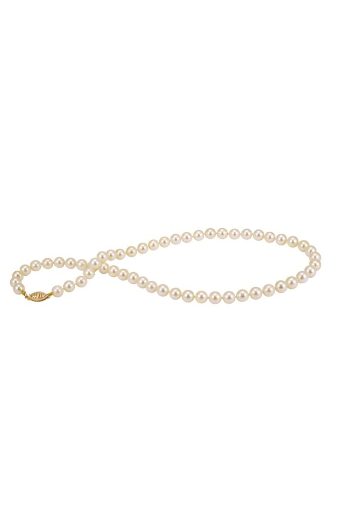 Creamy 6/6.5mm Akoya Pearl necklace on 9ct yellow gold clasp.