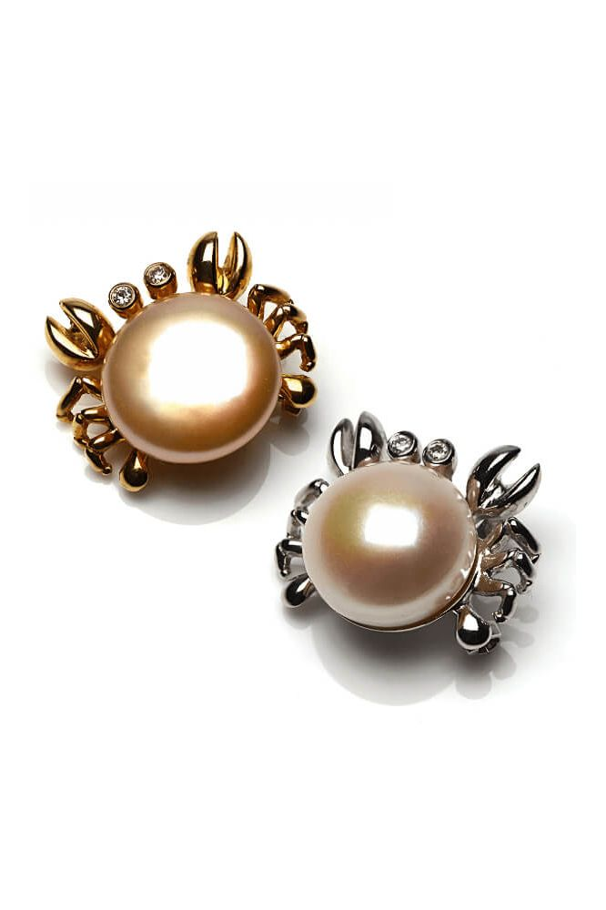 Freshwater Cultured Pearl Crab Brooch  |  18ct Gold
