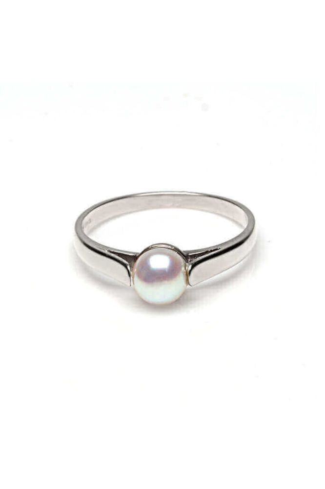 Freshwater Cultured Bouton Pearl Ring | 9ct White Gold