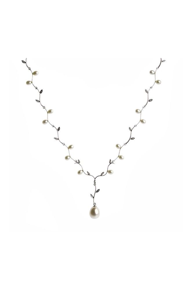 Freshwater Pearls & Diamond Foliate Necklace | 9ct White Gold