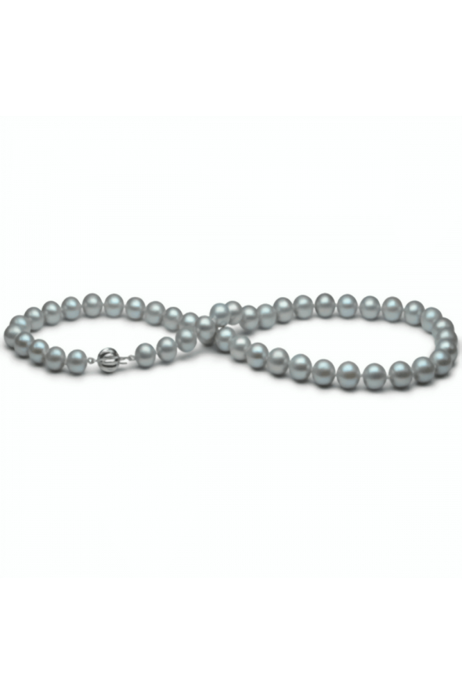 Freshwater Grey Pearl Necklace 9.0-9.5mm AA Grade