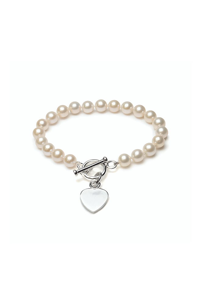 Freshwater Cultured Pearl Heart Toggle Bracelet | Silver