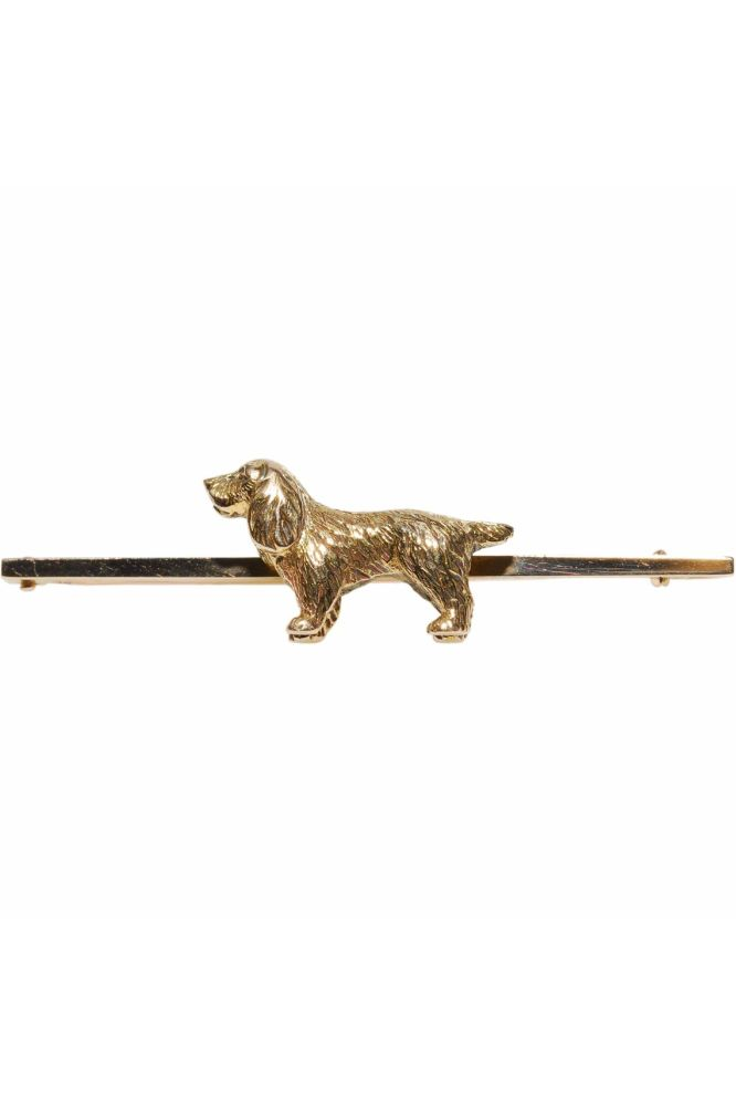 Early 20th Century 15ct Yellow Gold Spaniel Motif Bar Brooch - front image