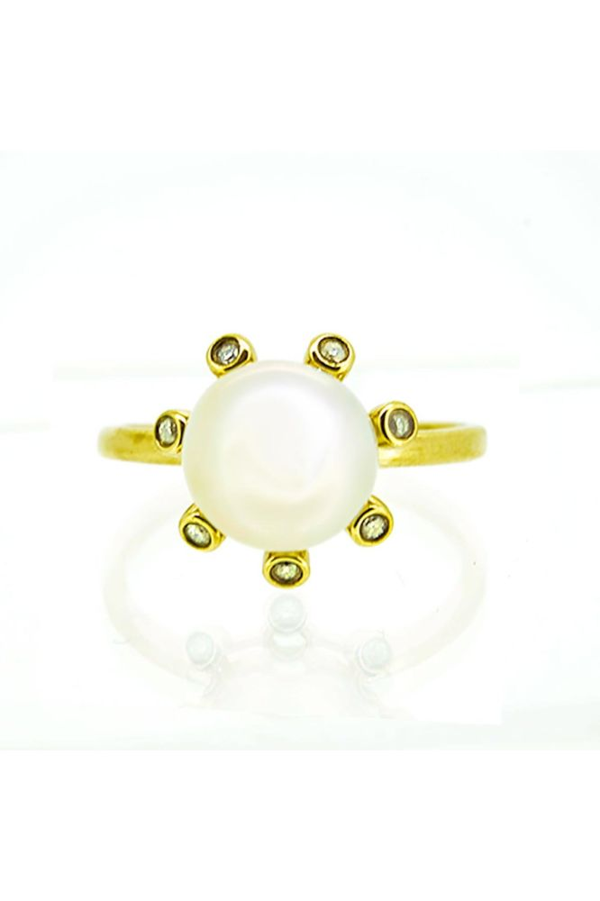9ct Yellow Gold Freshwater Pearl and Diamond Cluster Ring - main image