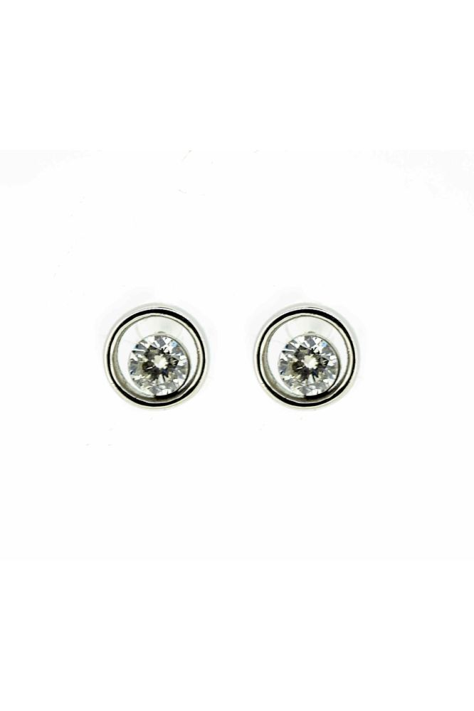 9ct White Gold Diamond Halo Stud Earrings - main image