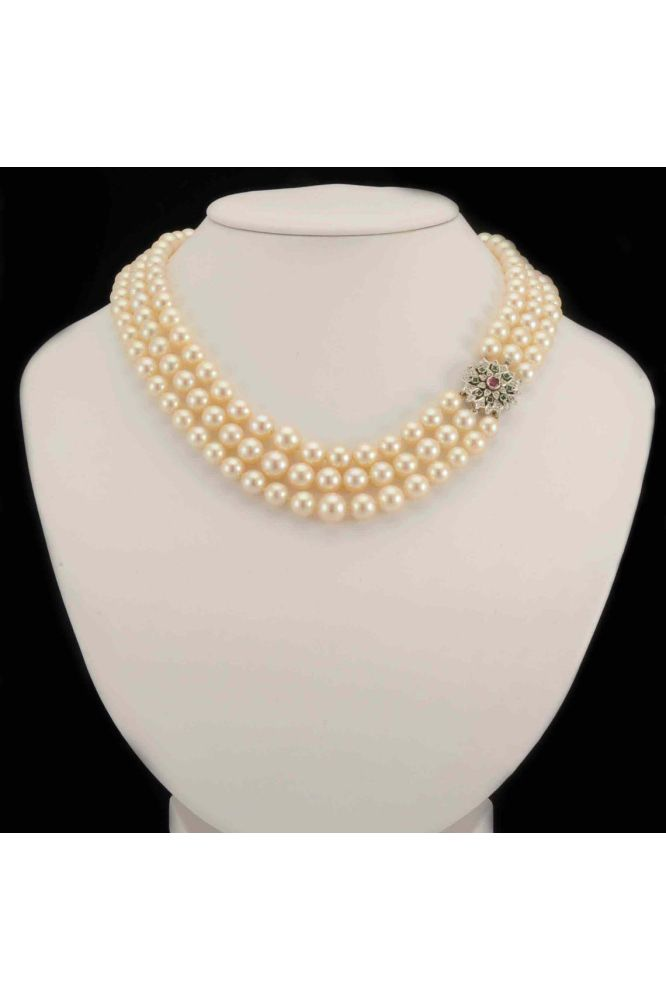 Akoya Cultured Pearl Three-Row Necklace With Gem Set Clasp - main image