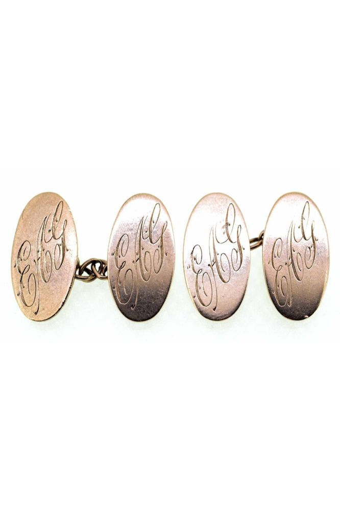 Early 20th Century 9ct Rose Gold Oval Engraved Cufflinks - main image