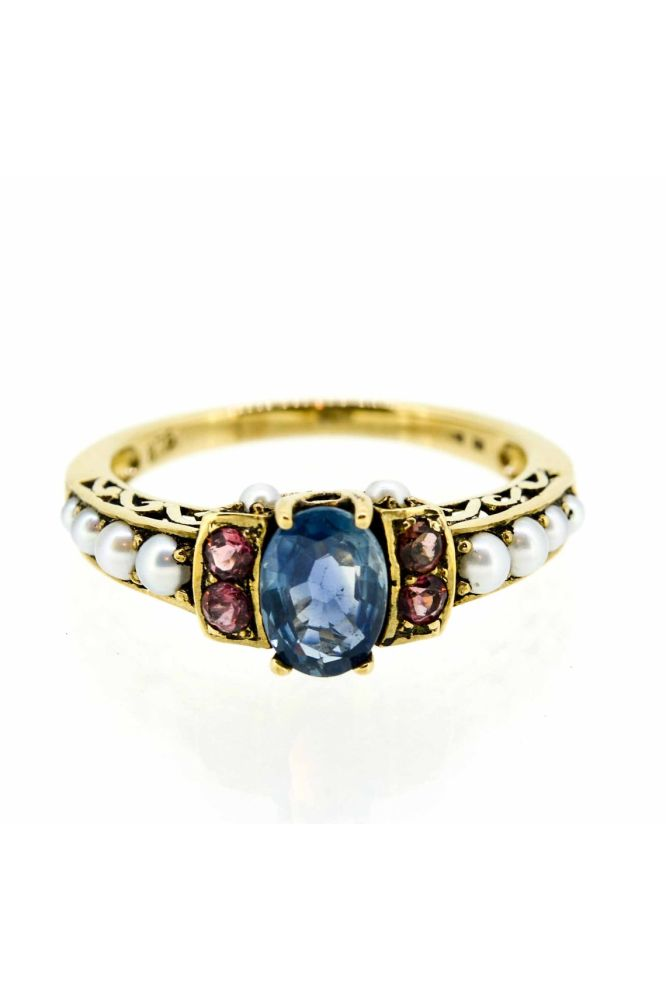 9ct Yellow Gold Antique Style Sapphire, Pearl and Tourmaline Dress Ring - main image