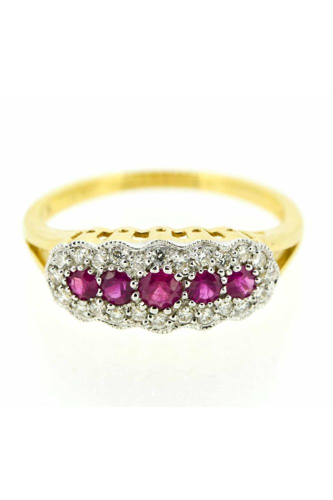 18ct Yellow Gold Edwardian Style Ruby and Diamond Ring - main image