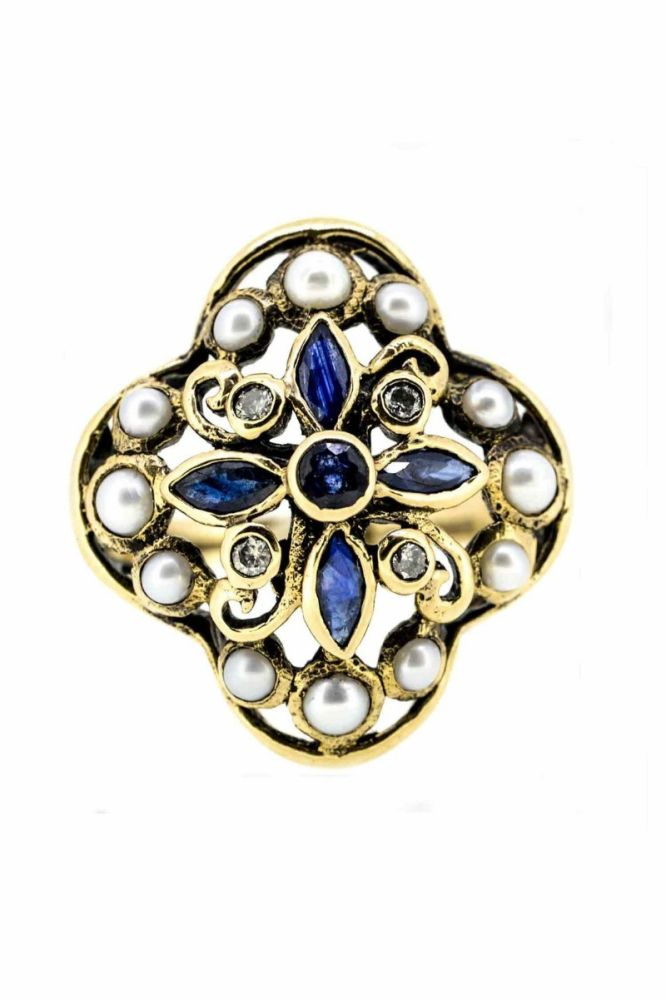 9ct Yellow Gold Antique Style Sapphire, Diamond and Pearl Ring - main image