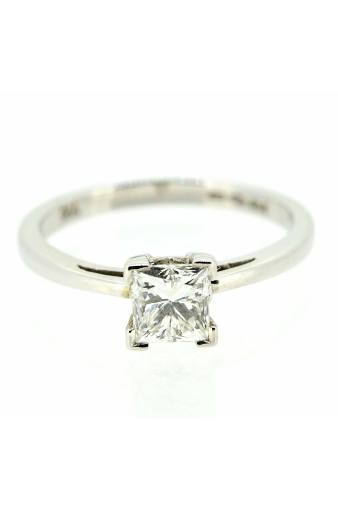 Platinum Princess Cut Diamond Single Stone Ring - main image