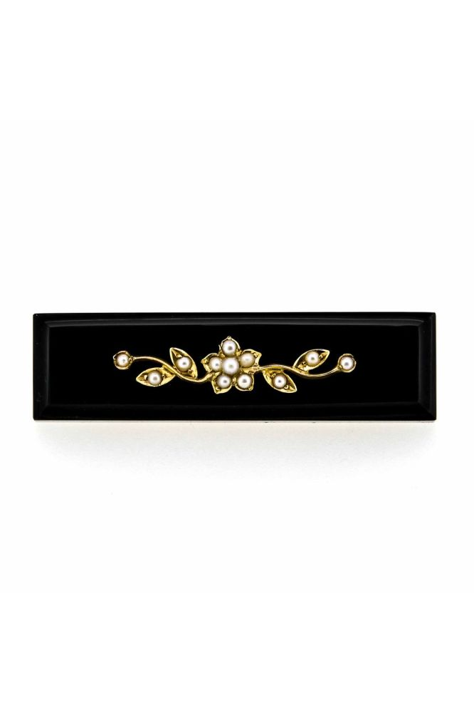 Victorian 9ct Yellow Gold Black Onyx and Pearl Brooch