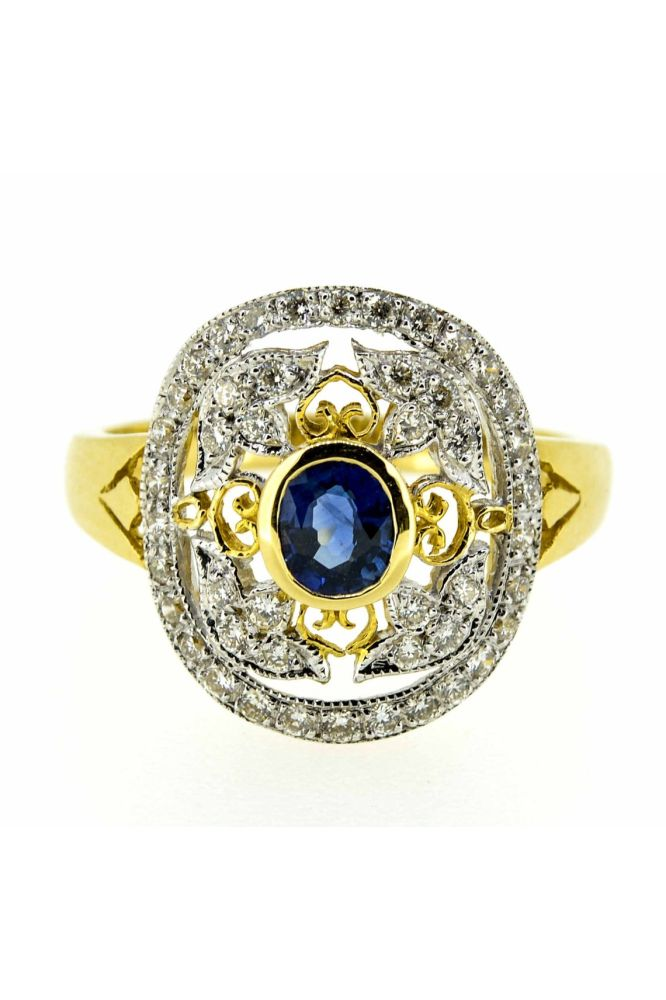 18ct Yellow Gold Antique Style Sapphire and Diamond Cluster Ring - main image