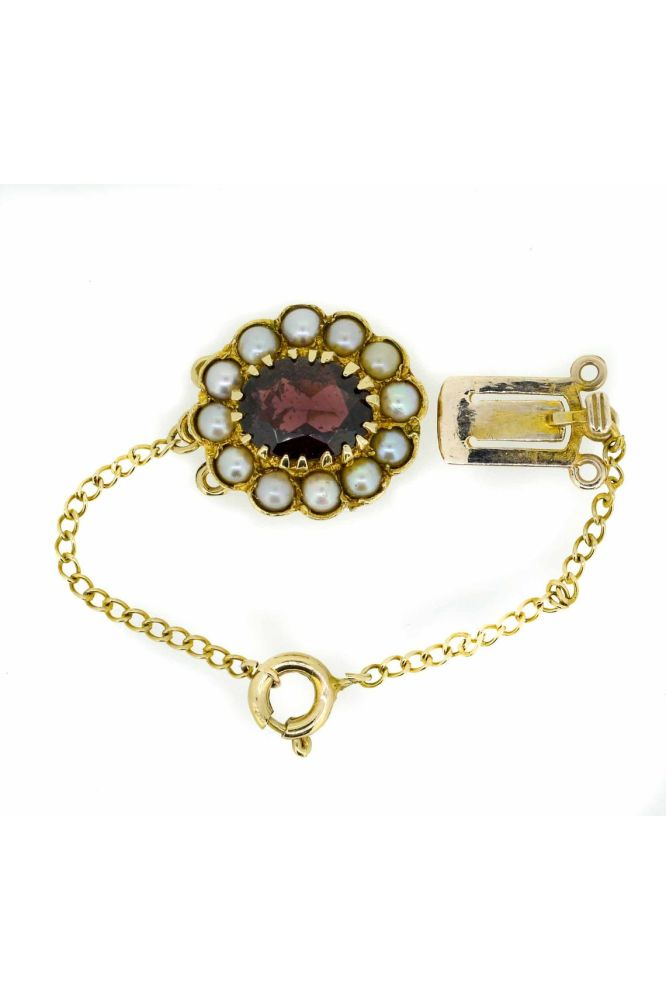 Mid 20th Century 9ct Yellow Gold Pearl and Garnet Clasp - main image