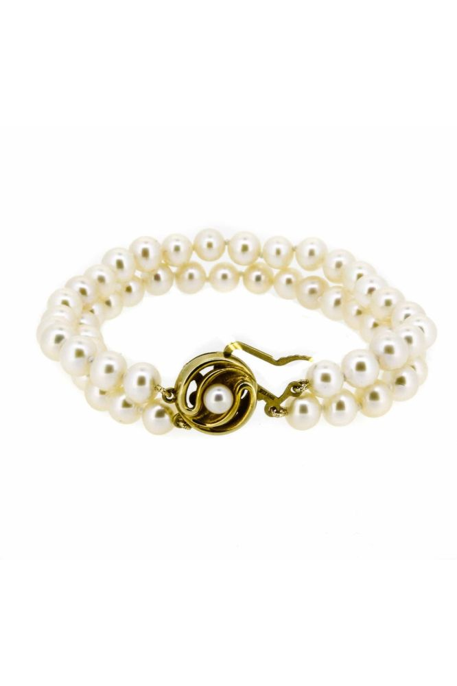 Two Strand Pearl Bracelet With Pearl Set Circular Clasp