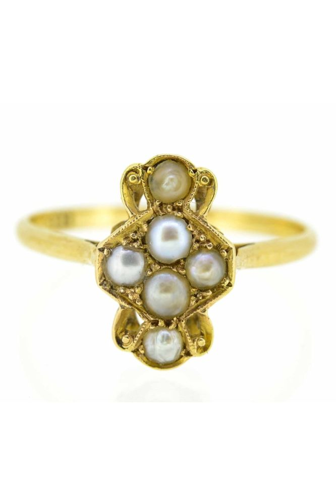 18ct Antique Natural Six Pearl Ring