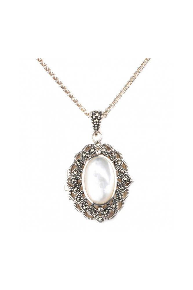 Mother of Pearl & Marcasite Oval Locket/Pendant and Chain  |  Silver