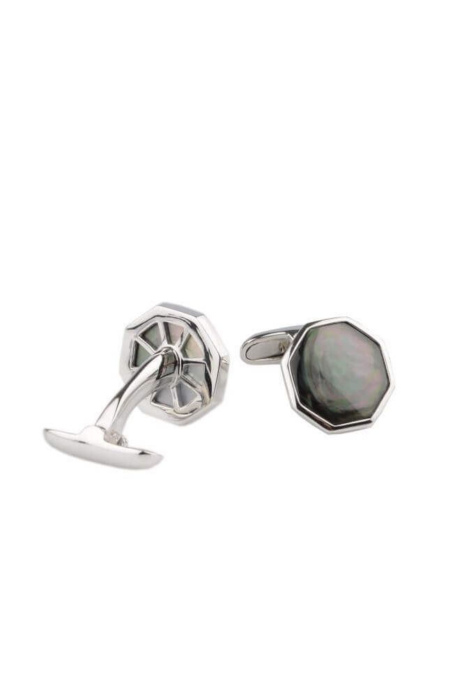 Silver Black Mother Of Pearl Cufflinks