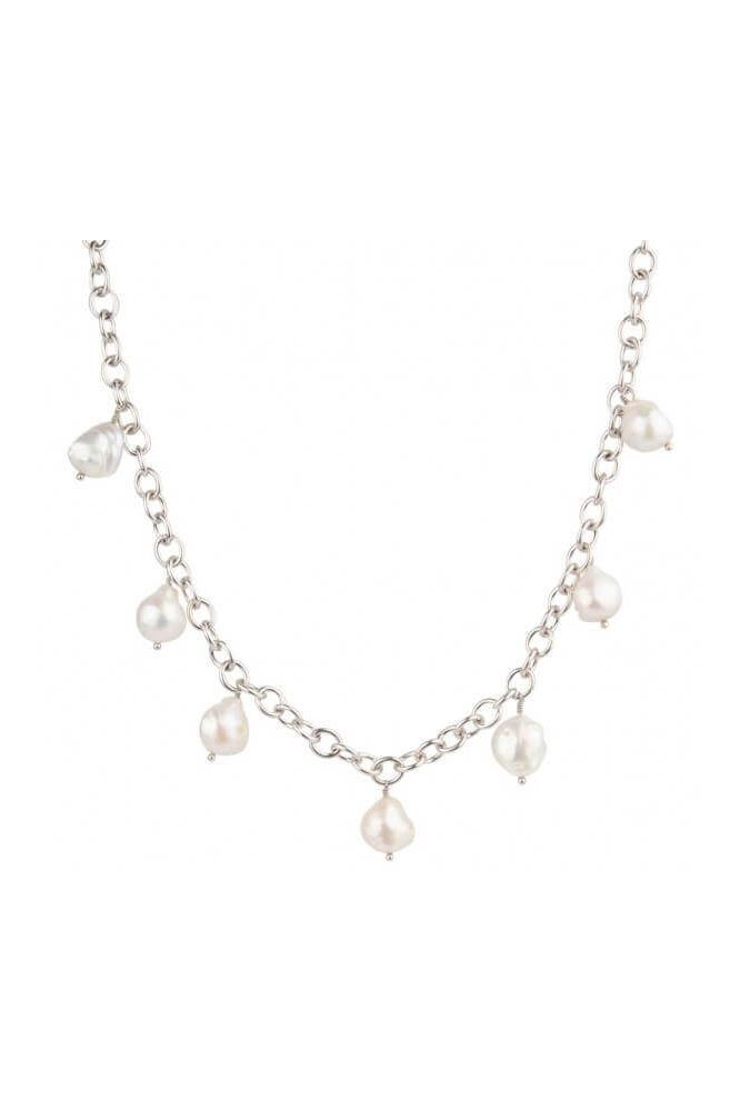 Heavy Chain baroque freshwater Pearl necklace Silver