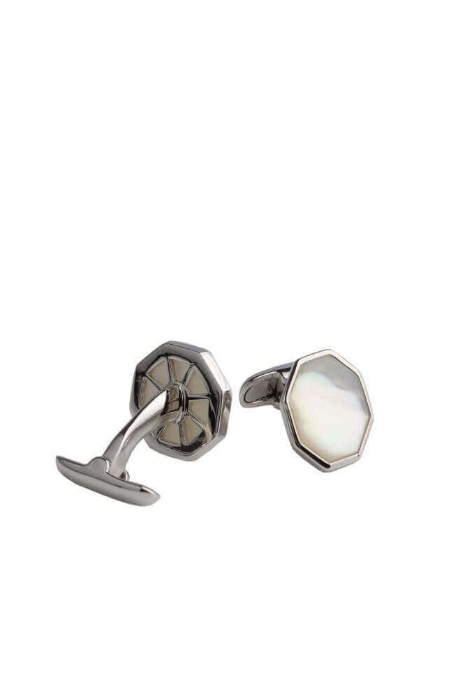Octagonal White Mother of Pearl Cufflinks | Silver