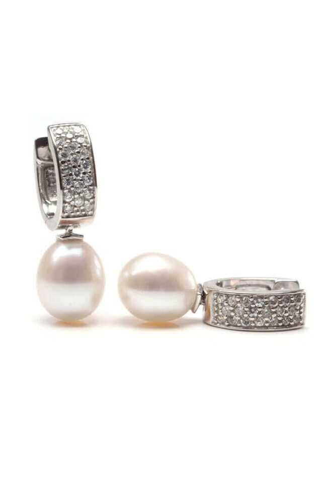 Freshwater Pearl and Cubic Zirconia Huggie Drop earring