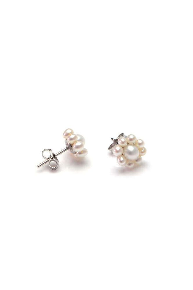 Freshwater Cultured Pearl Cluster Earrings  |  Silver