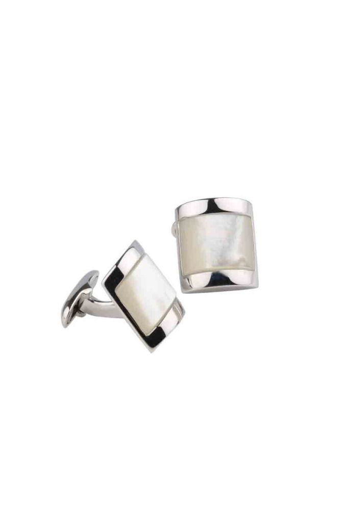 Rectangular White Mother of Pearl Cufflinks | Silver