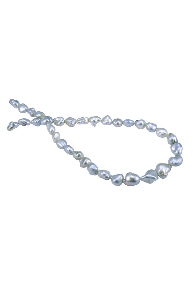 Amazing Silver Grey Keshi Pearl necklace 9 to 13mm