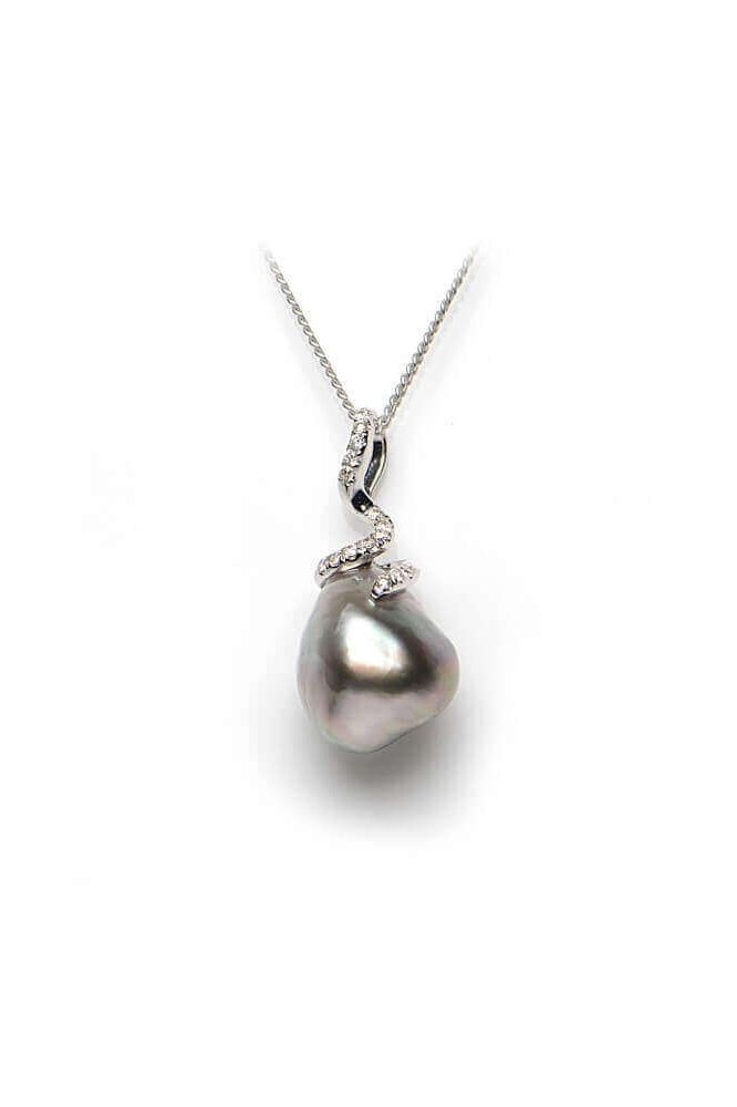 Tahitian Keshi Pearl & Diamond Pendant | 18 ct White Gold
