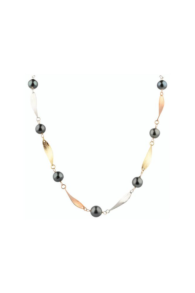 Baroque Tahitian Pearl Tri-colour Necklace | Silver