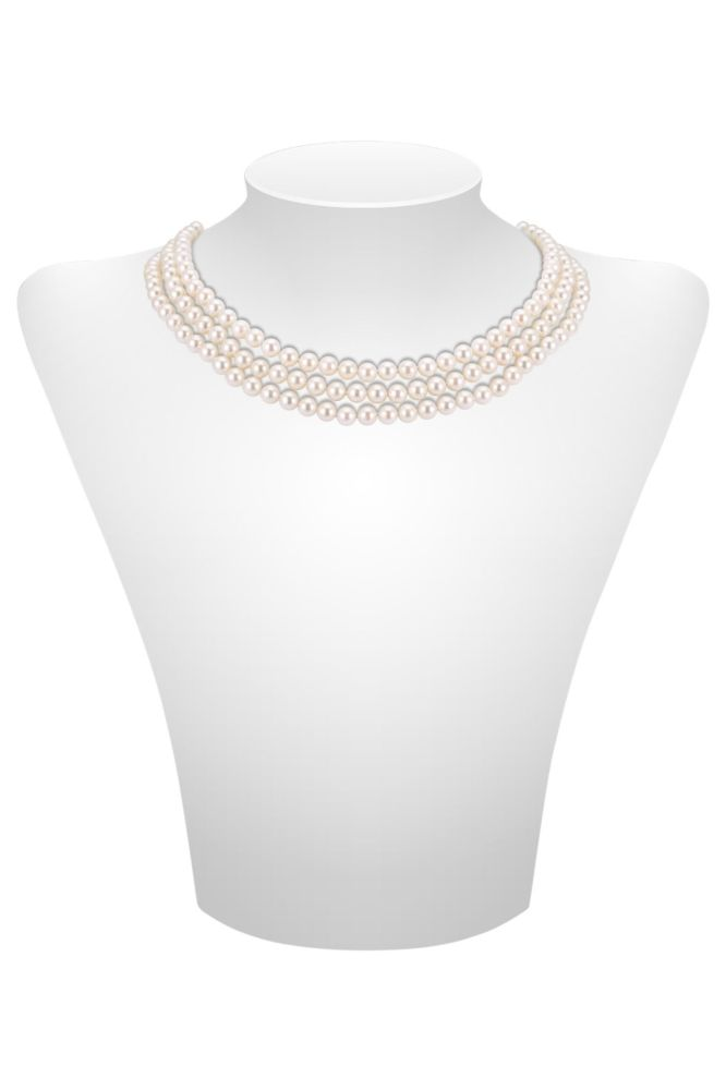 Three row Akoya Pearl necklace with Pearl set clasp
