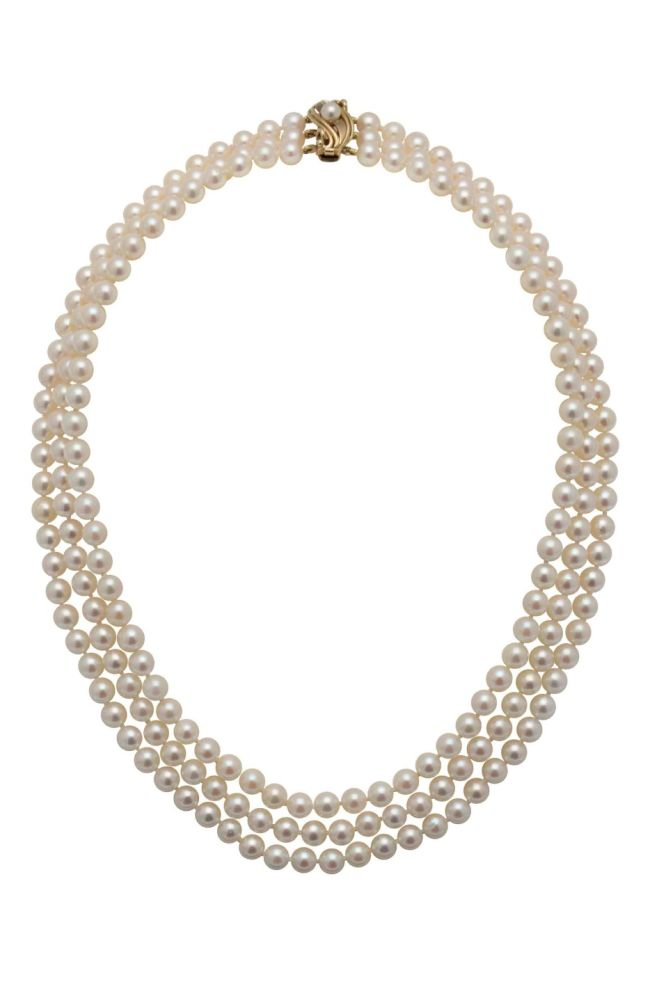 Three Row Akoya Pear Necklace With Fancy Gold Clasp