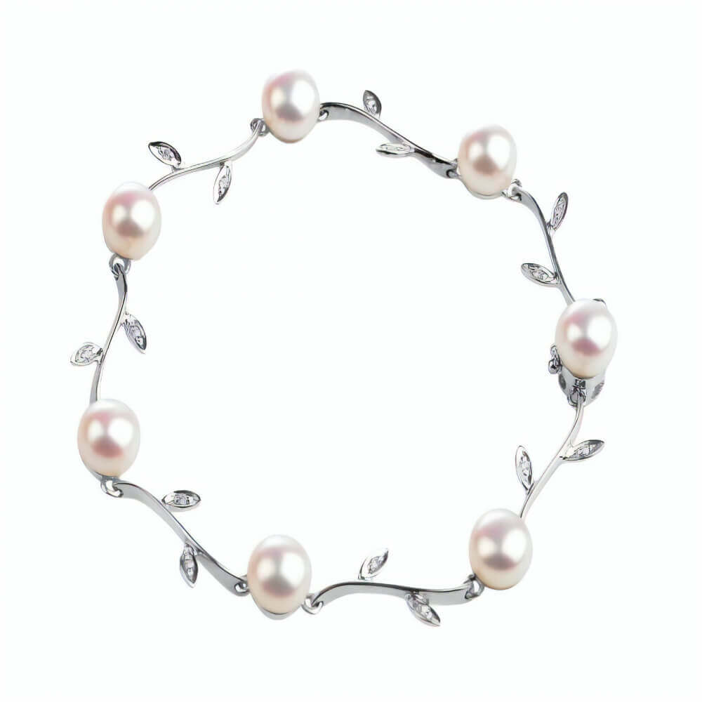 White Freshwater Pearl & Diamond Foliate Bracelet|18ct Gold