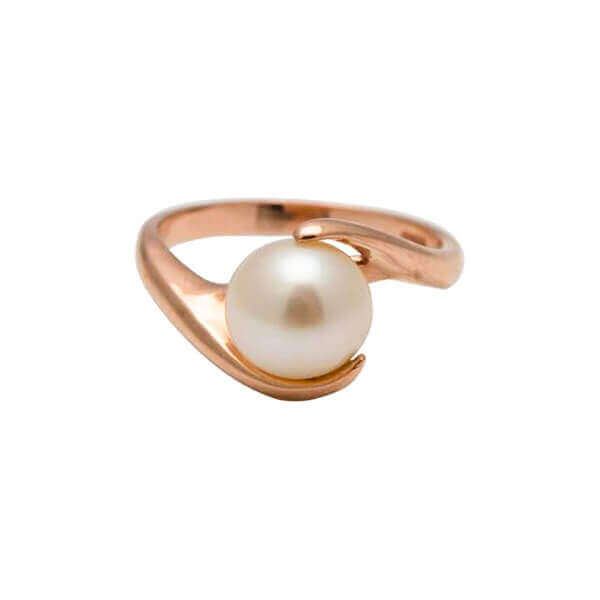 White Freshwater Pearl Twist Ring   9 ct Rose Gold