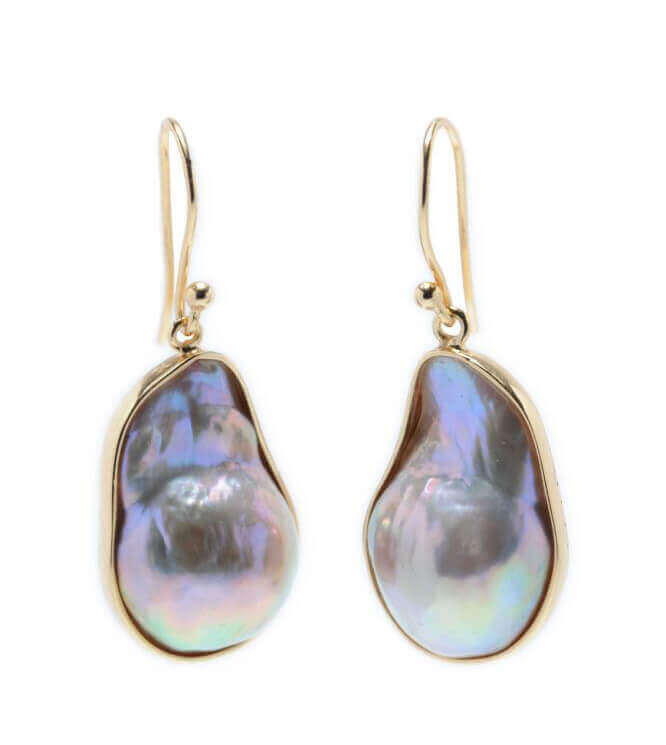Natural Colour Freshwater Baroque Pearl Drop Earrings | Yellow Gold Silver Gilt
