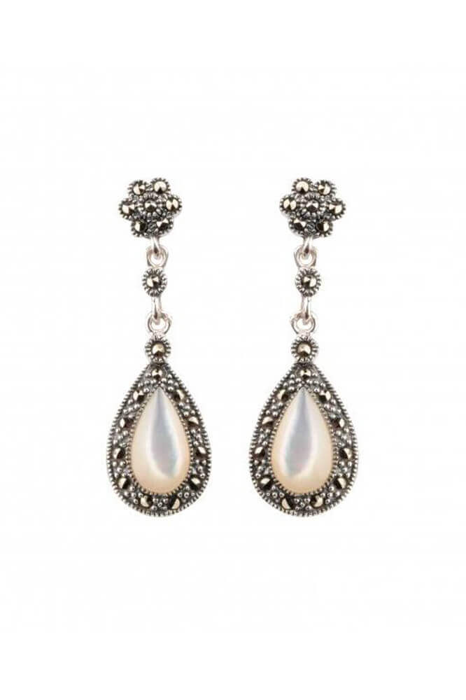 Mother of Pearl & Marcasite Pear-Shape Drop Earrings | Silver