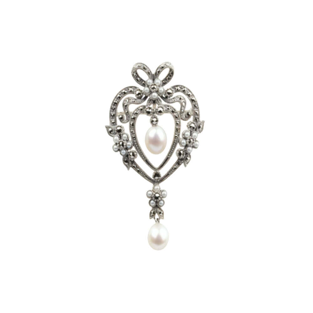 White Freshwater Pearl & Marcasite<br>Antique Style Pendant / Brooch