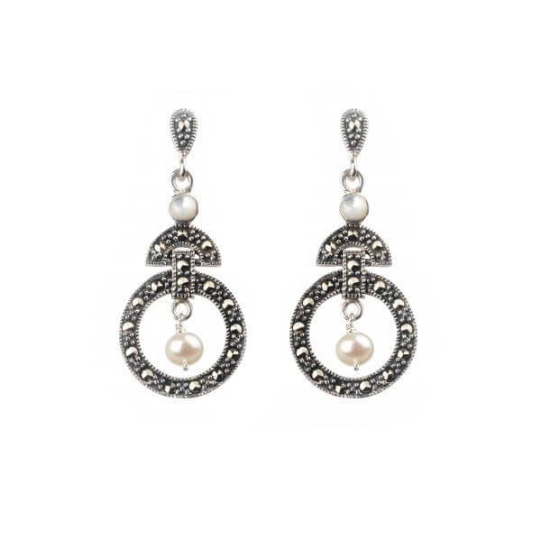 White Freshwater Pearl & Marcasite Odeon Style Drop Earrings