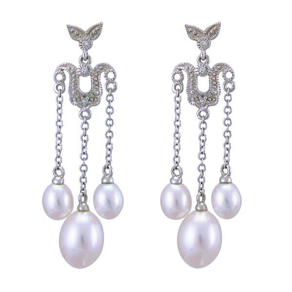 Freshwater Pearl & Diamond Edwardian Style Drop Earrings