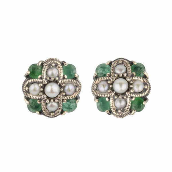 Freshwater Seed Pearl Marcasite & Emerald Stud Earrings | Silver