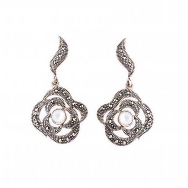 Mother of Pearl & Marcasite Asymmetrical Drop Earrings | Silver